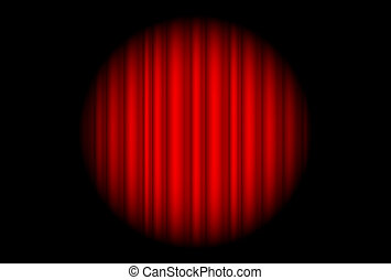 Stage with red curtain and big spot light