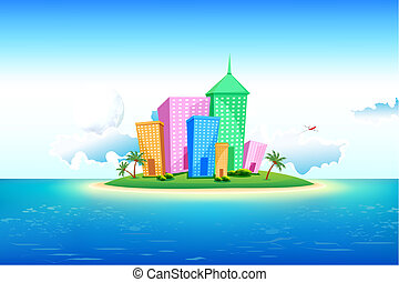 Lonely Island - illustration of tall building on island in...