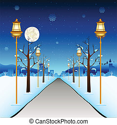 Winter Street - illustration of street with lamp post in...
