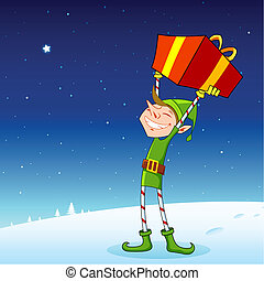 Elf with Gift Box - illustration of elf holding gift box in...