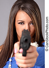 Woman with gun - Beautiful woman with a pistol