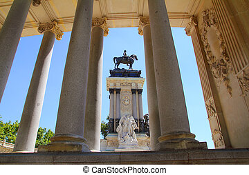 Alfonso XII monument Madrid in Retiro park near lake