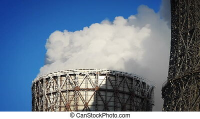 water-cooling tower at winter