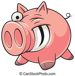 Fat pig - Illustration of a happy fat pink pig with a big...