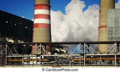 Coal-burning power plant at winter