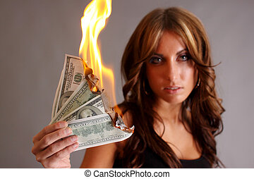 Money to burn - Beautiful woman with money to burn.