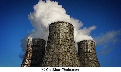 water-cooling towers at winter
