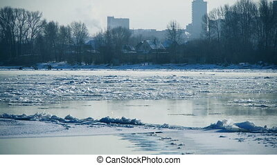 Floating of ice on a river