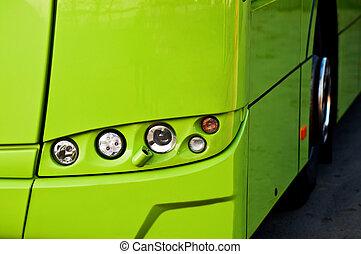 Buss headlight - Green buss headlight with front wheel