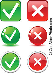Validation buttons. - Set of validation buttons. Vector. .