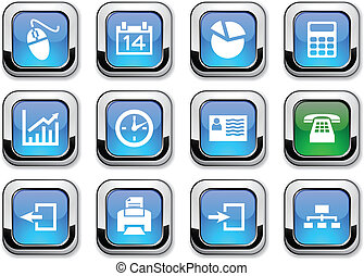 Office icons. - Office glossy icons. Vector buttons.