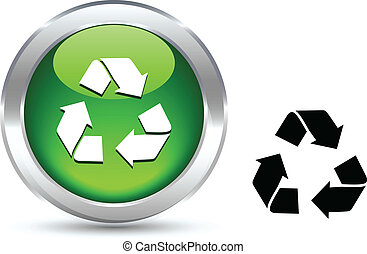Recycle button. - Recycle realistic button. Vector...