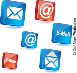 E-mail icons. - E-mail 3d icons. Vector illustration.