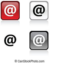 Arroba button - Arroba glossy square vibrant buttons