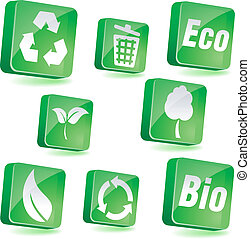 Ecology icons. - Ecology 3d icons. Vector illustration.
