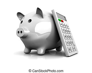 Savings calculator - 3D rendered Illustration. Isolated on...