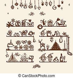 karácsony, bolt, skicc, rajz, -e, tervezés