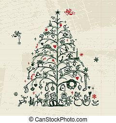 Christmas tree sketch for your design