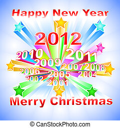 New Year 2012 colorful background