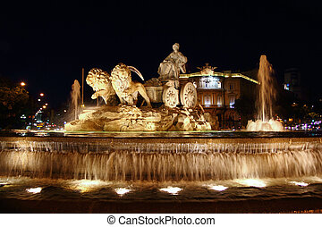 Cibeles night statue in Madrid Paseo Castellana of Spain