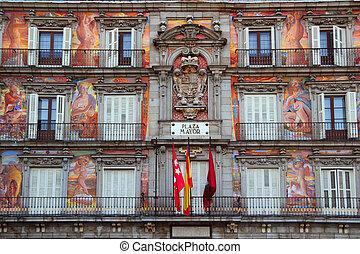 Madrid, praça, prefeito, típico, quadrado,...