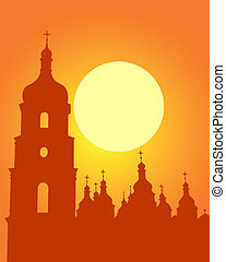 Sophia Cathedral in Kiev - Silhouette Sophia Cathedral in...