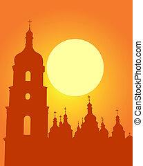 Sophia Cathedral in Kiev - Silhouette Sophia Cathedral in...