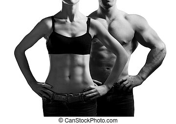 man and a woman in the gym - Bodybuilding Strong man and a...