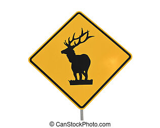 Elk Caution Sign - Elk crossing caution sign isolated on...