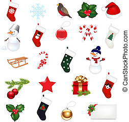 Christmas Icons Set - Big Christmas Icons Set, Isolated On...