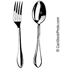 Spoon and fork on a white background Restaurant