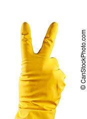 Rubber glove - Yellow rubber glove with victory sign