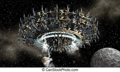 Alien spaceship and moon - 3D model of futuristic alien...