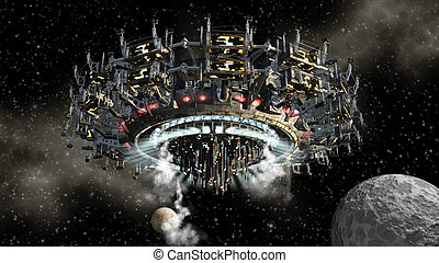 Alien spaceship - 3D model of futuristic alien space ship in...