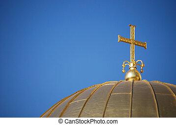 dorado, primer plano, cruz, cúpula