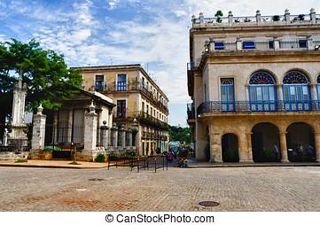 Havana, Cuba Street scene - Havana, Cuba Street scene with...