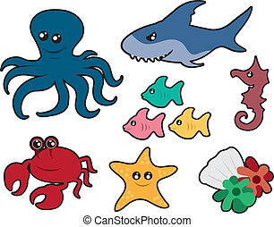 Ocean Creatures - Various ocean creatures including an...