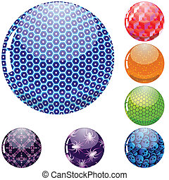 glossy colorful abstract globes with different inner...