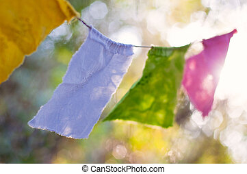 Buddhist Prayer Flags in Breeze - Pastel Buddhist Prayer...