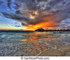 Sunset in the paradise - Beautiful vivid sunset over beach...
