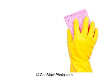 Yellow rubber glove with pink sponge on transparent...