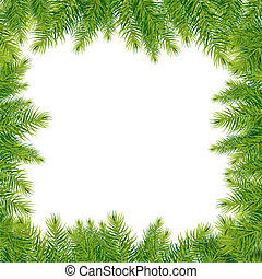 Christmas Tree Branches Border, Isolated On White...