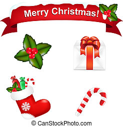 Merry Christmas Icons, Isolated On White Background, Vector...