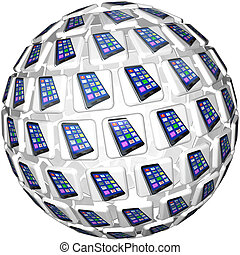 Smart Phones App Tiles Sphere Pattern