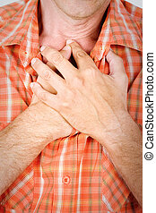 Hart breathing - Both man's hands on breast because of hard...