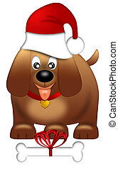 Cute Puppy Dog with Red Santa Hat - Cute Puppy Dog with...