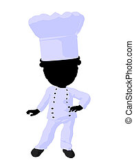 Little African American Chef Girl Illustration Silhouette -...