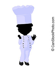 Little African American Chef Girl Illustration Silhouette