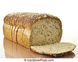 Healthy Bread Loaf - Sliced Brown Wholewheat Bread ,Close Up...