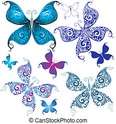 Set vintage butterflies for design on white vector